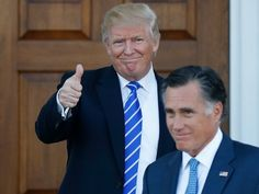 President-elect Donald Trump gives the thumbs-up as Mitt Romney leaves Trump National Golf Club Bedminster in Bedminster, N.J., Saturday, Nov. 19, 2016. (