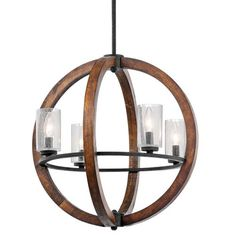 Kichler Grand Bank Auburn Stained Wood Farmhouse Seeded Glass Chandelier at Lowe's. The Grand Bank™ 4 light chandelier in Auburn Stained Wood and Distressed Black Metal dual finish and clear seeded glass creates a bold Outdoor Chandelier, Rustic Chandelier, Pendant Chandelier, Pendant Lighting, Light Pendant, Globe Pendant, Bedroom Chandeliers, Outdoor Lighting, Stairwell Chandelier