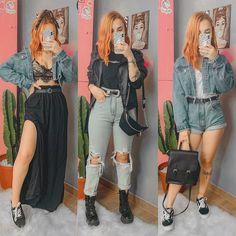 A nossa peça chave de hoje é o famoso jeans, que todos nós temos no guarda-roupa e amamos, né!? 🥰Ja me conta qual look é mais sua cara que… Tumblr Outfits, Edgy Outfits, Retro Outfits, Grunge Outfits, Girl Outfits, Fashion Outfits, Mode Lookbook, Girl Fashion, Womens Fashion