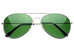 Polarized Classic Metal Aviator Sunglasses Silver Green A774