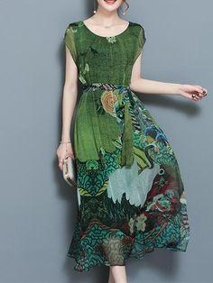 Elegant Floral Print Short Sleeve Dress at Banggood