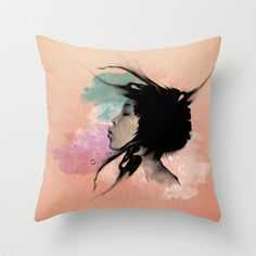 Psychedelic Blow Japanese Girl Throw Pillow by voodoo - $20.00