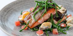 This beautiful dish from Dominic Chapman is full of flavours of the sea, with pan-fried Alaska salmon, mussels with beurre blanc and salty samphire