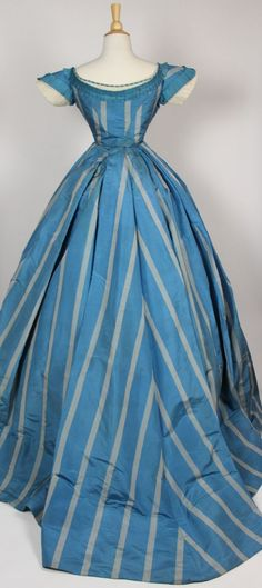 French Blue with Wide Gray Stripes Silk Taffeta Gown with Two Bodices (robe a' transformation) c. 1860 | In the Swan's Shadow