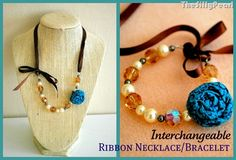 Interchangeable Ribbon Necklace/Bracelet by The Silly Pearl