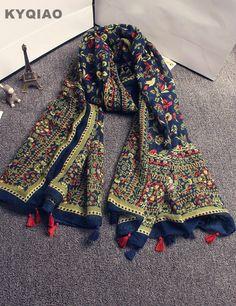 Pas cher Femmes long boho écharpe 2017 femelle filles automne hiver Mexique  style vintage ethnique longue marque imprimer écharpe silencieux cape châle  wrap ... 54c78b185df