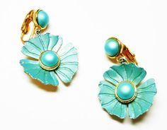 Green Dangling Flower Earrings  Pearlescent by thejewelseeker