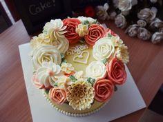 butter cream cake flower cake#rose cake