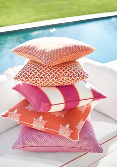 Amazing outdoor fabrics from Thibaut Design's Portico Collection. These fabrics look and feel just as good as any indoor fabric and can be left out for the summer. Pool Pillow, Orange Pillows, Outdoor Fabric, Indoor Outdoor, Outdoor Spaces, Outdoor Living, Wallpaper Online, Sunbrella Fabric, Home Decor Fabric