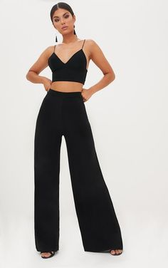 Jill Black Slinky Palazzo Trousers : Black Slinky Palazzo Trousers Featuring figure skimming and curve enhancing slinky fabric, these. Black Palazzo Pants, Palazzo Trousers, Black Trousers, Trouser Outfits, Pants Outfit, Night Out Outfit, Night Outfits, Trendy Outfits, Cute Outfits