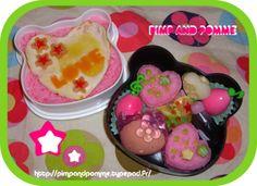 #bento #obento #girly #girlybento #pandabento #cute #kawaii #kawaiibento Bento Kawaii, Menu, Girly, Bento Box Lunch, Pudding, Desserts, Food, Food Coloring, Dish