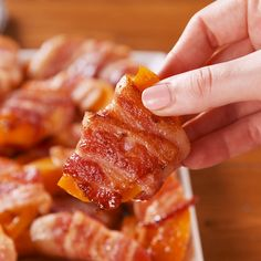 Bacon-Wrapped Butternut Squash Fries are the perfect alternative to french fries. Cheap Clean Eating, Clean Eating Snacks, Healthy Eating, Easy Sweet Potato Fries, Roasted Butternut Squash Soup, Butternut Squash Casserole, Delish, Bacon Wrapped, Cooking Recipes