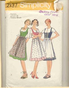 Simplicity 2137 German Dirndl Blouse And Apron Pattern In