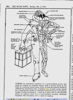This is what a cyborg looked like in 1964- On May 3, 1964, The Miami News ran this fanciful illustration of the man-machine of tomorrow, abutting this article explaining why plastic-organed cyborgs will not land on the Moon.