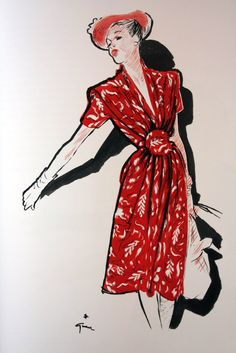 (René Gruau) I have a dress that looks a lot like this one. I love this picture. It reminds me of Ruth. Jacques Fath, Lanvin, Givenchy, Marie Claire, Fashion Illustration Vintage, Illustration Sketches, Fashion Illustrations, David Downton, Elsa Schiaparelli