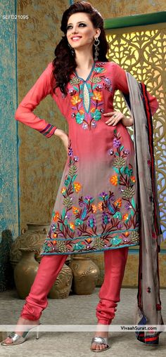 Pink and Grey Faux Georgette Churidar Suit  ||  ITEM CODE SLFD21095  ||  INR 3,585/-  ||