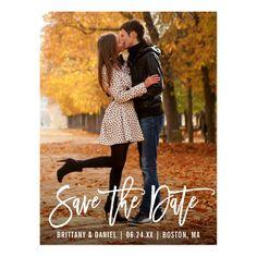 Modern Brush Script Save The Date Engagement Couple Photo Postcard