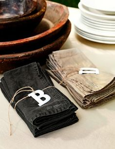 napkins with alphabet rings
