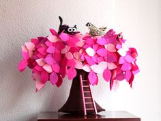 Pink Felt Weeping Willow Tree - Children's decor; by Intres on Etsy, $69.00