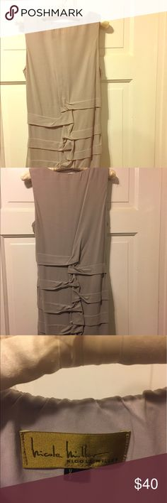 Nicole Miller gray ruched sheath dress, size 10 Nicole Miller knee-length sheath dress, size 10, ruching in front and back. Light gray, fitted, slightly stretchy. Nicole Miller Dresses Midi