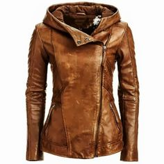 Danier Brown Leather Hooded Jacket | Fashionista Tribe