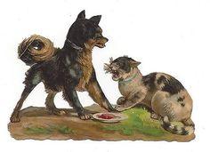 Glanzbilder - Victorian Die Cut - Victorian Scrap - Tube Victorienne - Glansbilleder - Plaatjes : Hund und Katz - dog and cat - chien et chat