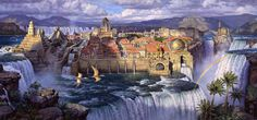Waterfall City, Afternoon Light, oil 24x52, from Dinotopia: Journey to Chandara.