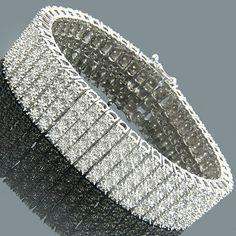 Mens Diamond Bracelets 14K 5 Row Diamond Bracelet 3.50