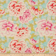 Designed by Kaffe Fassett for Rowan Fabrics, this cotton print is perfect for quilting, apparel and home decor accents.  Colors include aqua, sage, white, yellow and shades of pink.