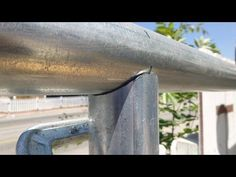 "This video is part of my ""DIY cantilever sliding gate"" series. It shows a cheap way to notch your steel pipes for ""T"" or ""diagonal"" connection. Pipe Welding, Welding Rods, Welding Art, Welding Ideas, Welding Table, Pipe Fence, Farm Fence, Fence Gate, Fencing"