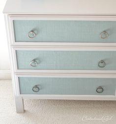 Blue burlap panels on dresser - Ikea furniture make-over!