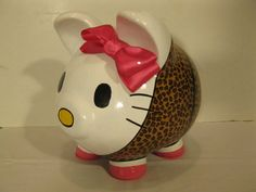 Each Bank is Made to Order!!    This cute little piggy is made up in a darling cheetah print outfit. This Kitty can be created in just about any outfit