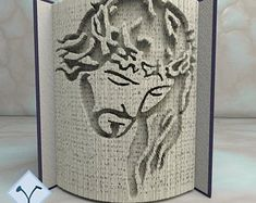 Book Folding Templates, Book Folding Patterns, Cut And Fold Books, Cutting Horses, Folded Book Art, Holy Family, The Masterpiece, Book Show, Beautiful Patterns