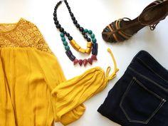 Crochet Yellow Blouse Flat Lay