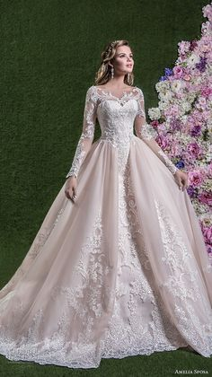 amelia sposa 2018 bridal long sleeves illusion boat sweetheart neckline heavily embellished bodice pink ball gown wedding dream lace back long train (rachele) mv -- Amelia Sposa 2018 Wedding Dresses