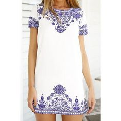 blue + white embroidered shift dress
