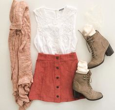 Skirt and low boots and cardigan
