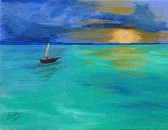 Solitary Sunset - acrylic by ©Brenda Smith (via DailyPaintworks)