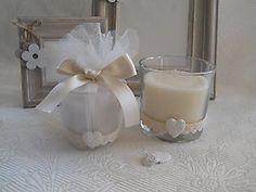 Bomboniera candela Shabby Chic NUOVISSIMA per matrimonio comunione e cresima cod. 292E -292E1