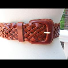 Brown Leather Braided Belt Ruff hewn Brown braided wide leather belt; medium; great condition ruffhewn Accessories Belts