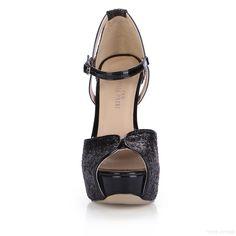 da7b15ebff3be2 US 63.99 Glittering Black Platform High Heel Women Pumps.  Sandals   Glittering  Black  Women