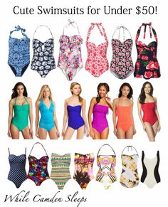 Cute Swimsuits for Under $50!  All are modest one pieces or tankinis.