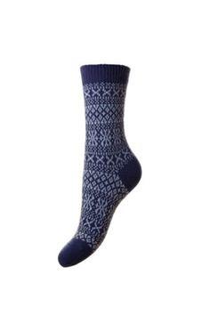 Campbell's of Beauly - Cashmere FairIsle Bed Socks Damson Ladies Socks, Bed Socks, Tweed, Cashmere, Lady, Blue, Women, Fashion, Moda