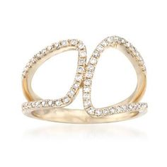 Ross-Simons - .33 ct. t.w. Diamond Asymmetrical Ring in 14kt Yellow Gold - #836927
