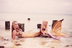 Too cute. Mommy and baby mermaids