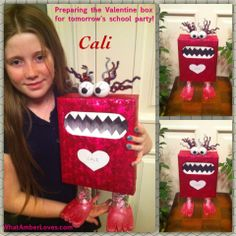 DIY cute monster Valentine Box for elementary school Valentine party! #valentine (monster, love bug, just cute, silly fun! Love it!)