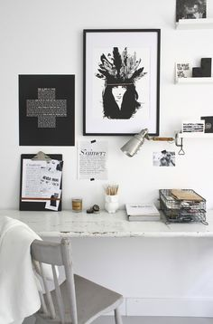 Love this small desk space accented with black and wite. So lovely.