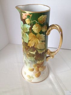 Beautifully made at the Jean Pouyat porcelain factory in Limoges, France, circa There is slight wear of the gold paint on the handle and a little on the rim. Fruit Painting, China Painting, Porcelain Ceramics, China Porcelain, Painted Porcelain, Porcelain Tiles, Ceramic Decor, Ceramic Pottery, China Dinnerware Sets