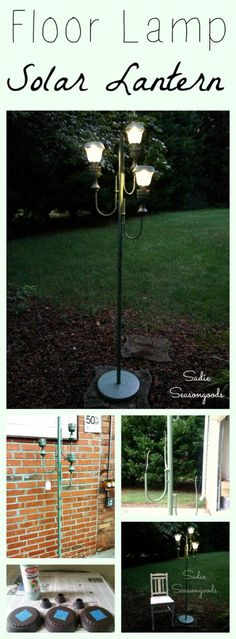 Vintage antique floor lamp repurposed and upcycled into DIY solar lights lantern for backyard garden parties by Sadie Seasongoods / www. Backyard Garden Landscape, Modern Backyard, Diy Garden, Big Backyard, Terrace Garden, Garden Planters, Garden Art, Garden Landscaping, Diy Solar