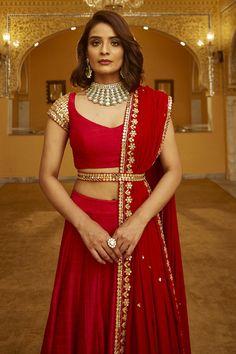 Buy Gota Patti Embroidered Lehenga Set by Abhinav Mishra at Aza Fashions Indian Bridal Outfits, Indian Bridal Fashion, Indian Designer Outfits, Wedding Outfits, Half Saree Designs, Sari Blouse Designs, Lehenga Designs, Half Saree Lehenga, Lehnga Dress